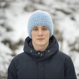 błękitna czapka 100 % wełna