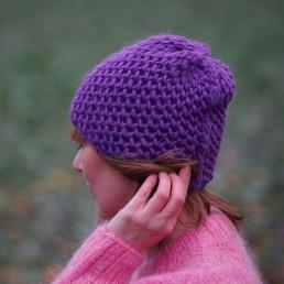 fioletowa czapka 100% wełna