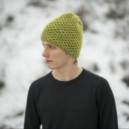 limonkowa czapka 100 % wełna rozmiar L
