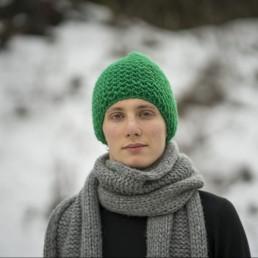 zielona czapka 100 % wełna